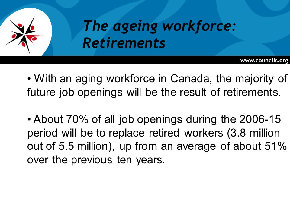 www.councils.org The ageing workforce: Retirements With an aging workforce in Canada, the majority of future job openings will be the result of retirements.
