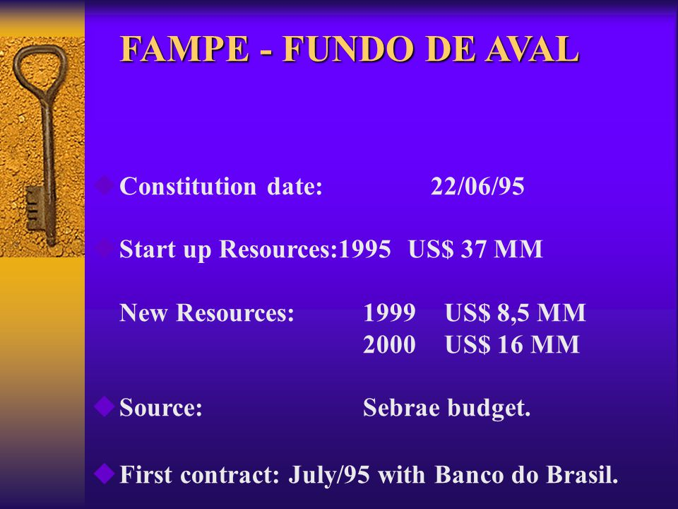 FAMPE- FUNDO DE AVAL MAIN DIFFICULTIES OF SME TO ACCESS CREDIT ( National Survey) 40% High demand for guarantees 40% High interest rates28% Excessive bureaucracy14% Absence of resources13% Others 5% ________________________________________________ TOTAL 100%
