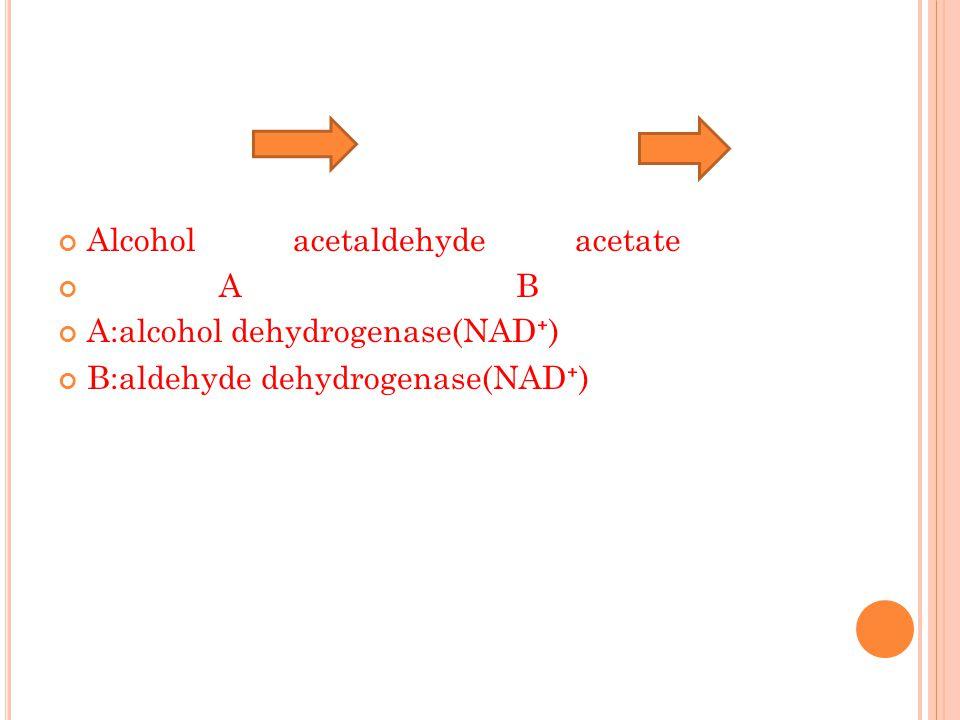 Alcohol acetaldehyde acetate A B A:alcohol dehydrogenase(NAD ⁺ ) B:aldehyde dehydrogenase(NAD ⁺ )