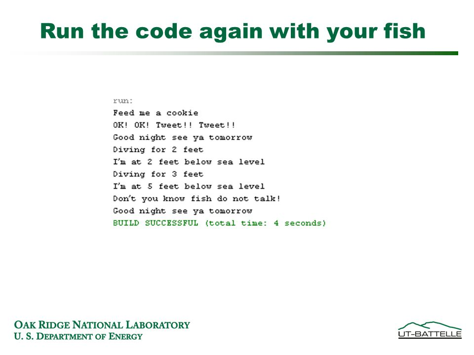 Run the code again with your fish
