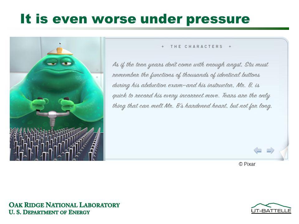 It is even worse under pressure © Pixar