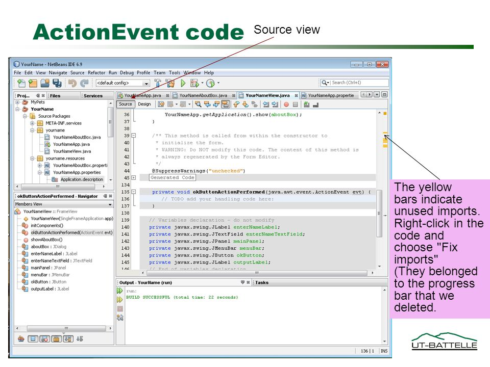 ActionEvent code Source view w The yellow bars indicate unused imports.