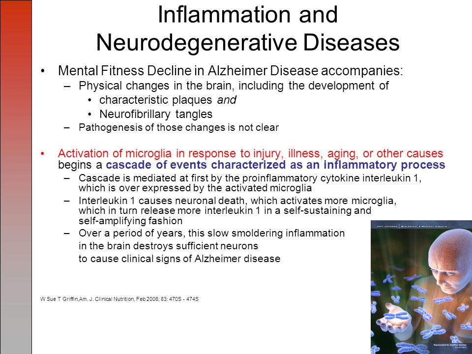 Inflammation and Neurodegenerative Diseases Mental Fitness Decline in Alzheimer Disease accompanies: –Physical changes in the brain, including the development of characteristic plaques and Neurofibrillary tangles –Pathogenesis of those changes is not clear Activation of microglia in response to injury, illness, aging, or other causes begins a cascade of events characterized as an inflammatory process –Cascade is mediated at first by the proinflammatory cytokine interleukin 1, which is over expressed by the activated microglia –Interleukin 1 causes neuronal death, which activates more microglia, which in turn release more interleukin 1 in a self-sustaining and self-amplifying fashion –Over a period of years, this slow smoldering inflammation in the brain destroys sufficient neurons to cause clinical signs of Alzheimer disease W Sue T Griffin,Am.
