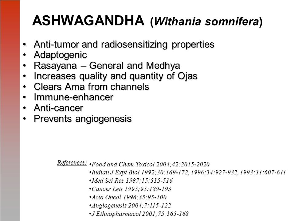 ASHWAGANDHA (Withania somnifera) Anti-tumor and radiosensitizing propertiesAnti-tumor and radiosensitizing properties AdaptogenicAdaptogenic Rasayana – General and MedhyaRasayana – General and Medhya Increases quality and quantity of OjasIncreases quality and quantity of Ojas Clears Ama from channelsClears Ama from channels Immune-enhancerImmune-enhancer Anti-cancerAnti-cancer Prevents angiogenesisPrevents angiogenesis Food and Chem Toxicol 2004;42:2015-2020Food and Chem Toxicol 2004;42:2015-2020 Indian J Expt Biol 1992;30:169-172, 1996;34:927-932, 1993;31:607-611Indian J Expt Biol 1992;30:169-172, 1996;34:927-932, 1993;31:607-611 Med Sci Res 1987;15:515-516Med Sci Res 1987;15:515-516 Cancer Lett 1995;95:189-193Cancer Lett 1995;95:189-193 Acta Oncol 1996;35:95-100Acta Oncol 1996;35:95-100 Angiogenesis 2004;7:115-122Angiogenesis 2004;7:115-122 J Ethnopharmacol 2001;75:165-168J Ethnopharmacol 2001;75:165-168 References: