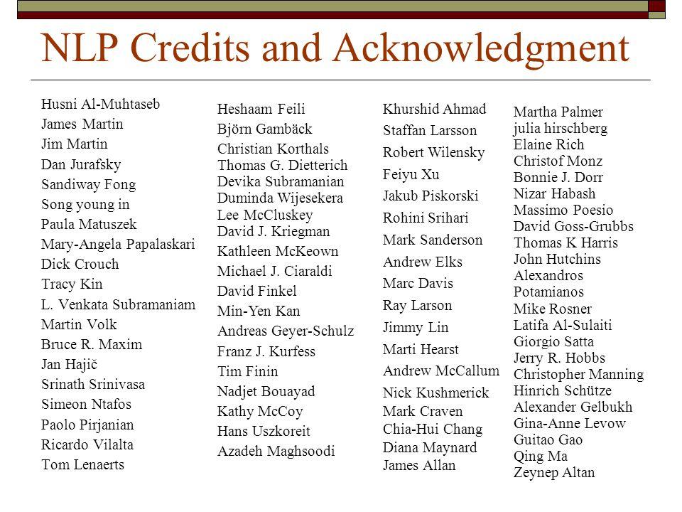 NLP Credits and Acknowledgment Husni Al-Muhtaseb James Martin Jim Martin Dan Jurafsky Sandiway Fong Song young in Paula Matuszek Mary-Angela Papalaskari Dick Crouch Tracy Kin L.