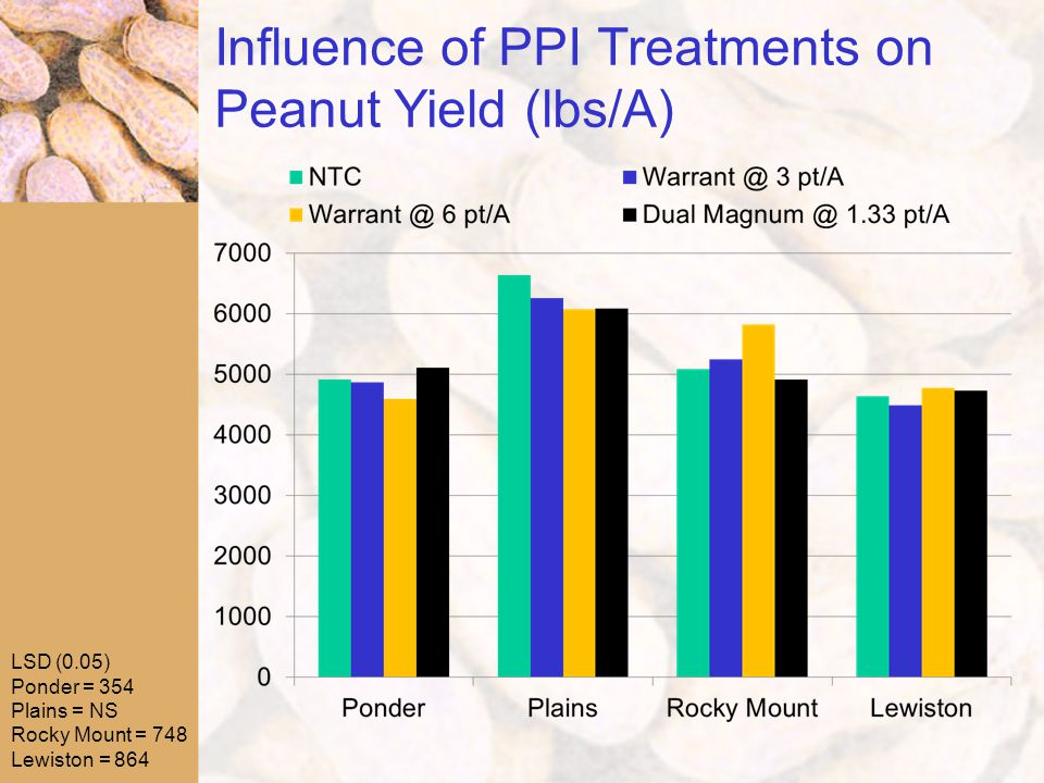 Influence of PPI Treatments on Peanut Yield (lbs/A) LSD (0.05) Ponder = 354 Plains = NS Rocky Mount = 748 Lewiston = 864