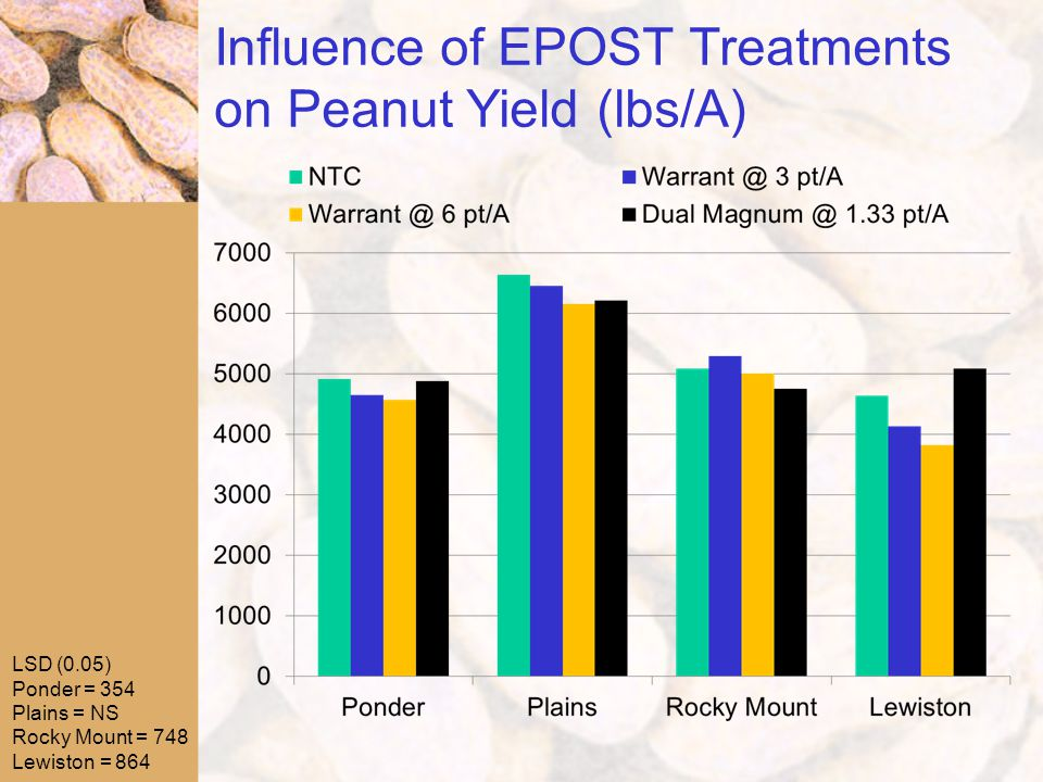 Influence of EPOST Treatments on Peanut Yield (lbs/A) LSD (0.05) Ponder = 354 Plains = NS Rocky Mount = 748 Lewiston = 864