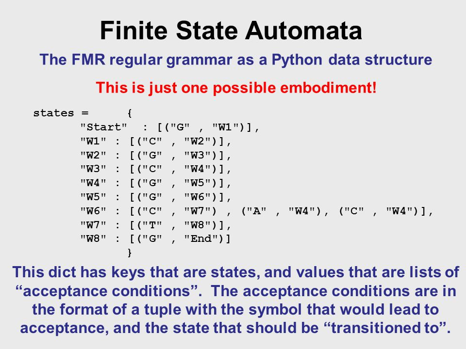Finite State Automata The FMR regular grammar as a Python data structure This is just one possible embodiment.