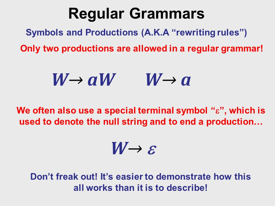 Regular Grammars Symbols and Productions (A.K.A rewriting rules ) Only two productions are allowed in a regular grammar.