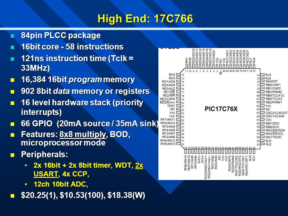 High End: 17C766 84pin PLCC package 84pin PLCC package 16bit core - 58 instructions 16bit core - 58 instructions 121ns instruction time (Tclk = 33MHz)