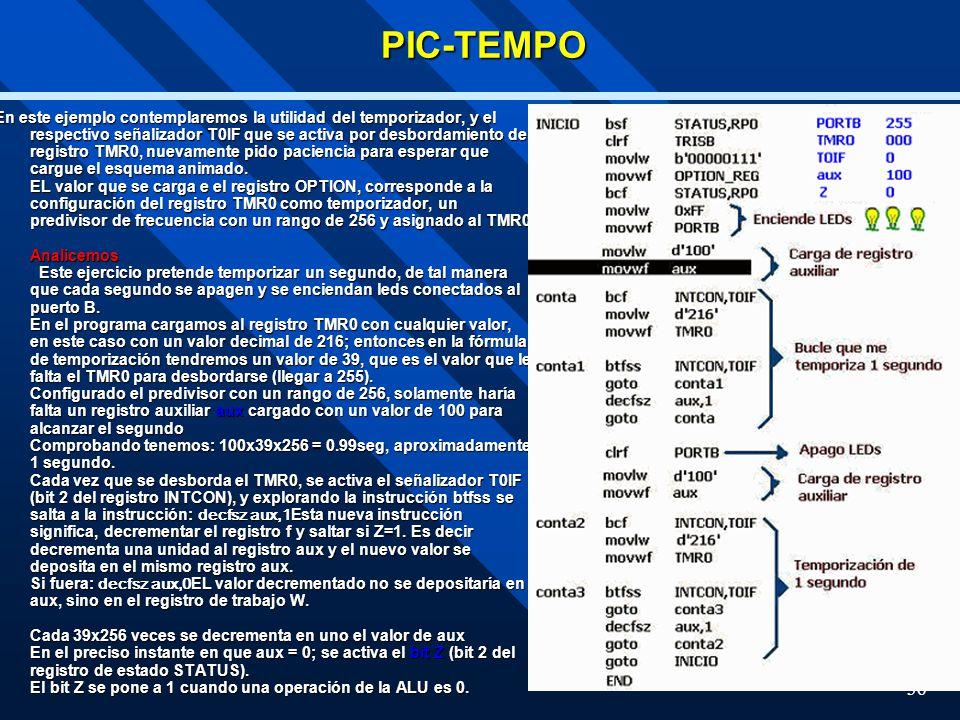 36PIC-TEMPO En este ejemplo contemplaremos la utilidad del temporizador, y el respectivo señalizador T0IF que se activa por desbordamiento del registr