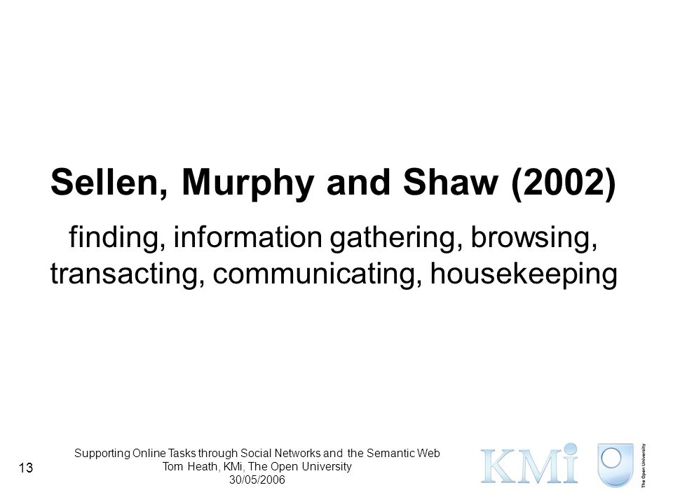 Supporting Online Tasks through Social Networks and the Semantic Web Tom Heath, KMi, The Open University 30/05/2006 13 Sellen, Murphy and Shaw (2002) finding, information gathering, browsing, transacting, communicating, housekeeping