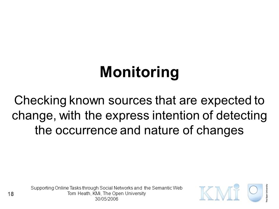 Supporting Online Tasks through Social Networks and the Semantic Web Tom Heath, KMi, The Open University 30/05/2006 18 Monitoring Checking known sources that are expected to change, with the express intention of detecting the occurrence and nature of changes