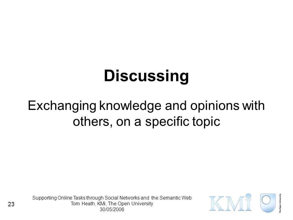 Supporting Online Tasks through Social Networks and the Semantic Web Tom Heath, KMi, The Open University 30/05/2006 23 Discussing Exchanging knowledge and opinions with others, on a specific topic