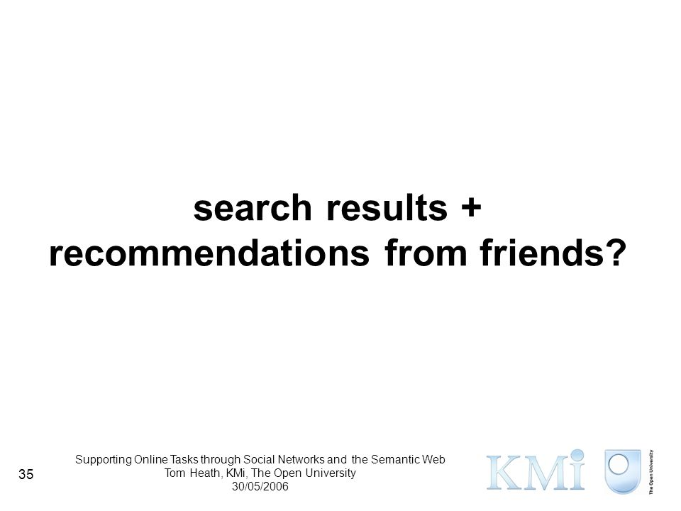 Supporting Online Tasks through Social Networks and the Semantic Web Tom Heath, KMi, The Open University 30/05/2006 35 search results + recommendations from friends