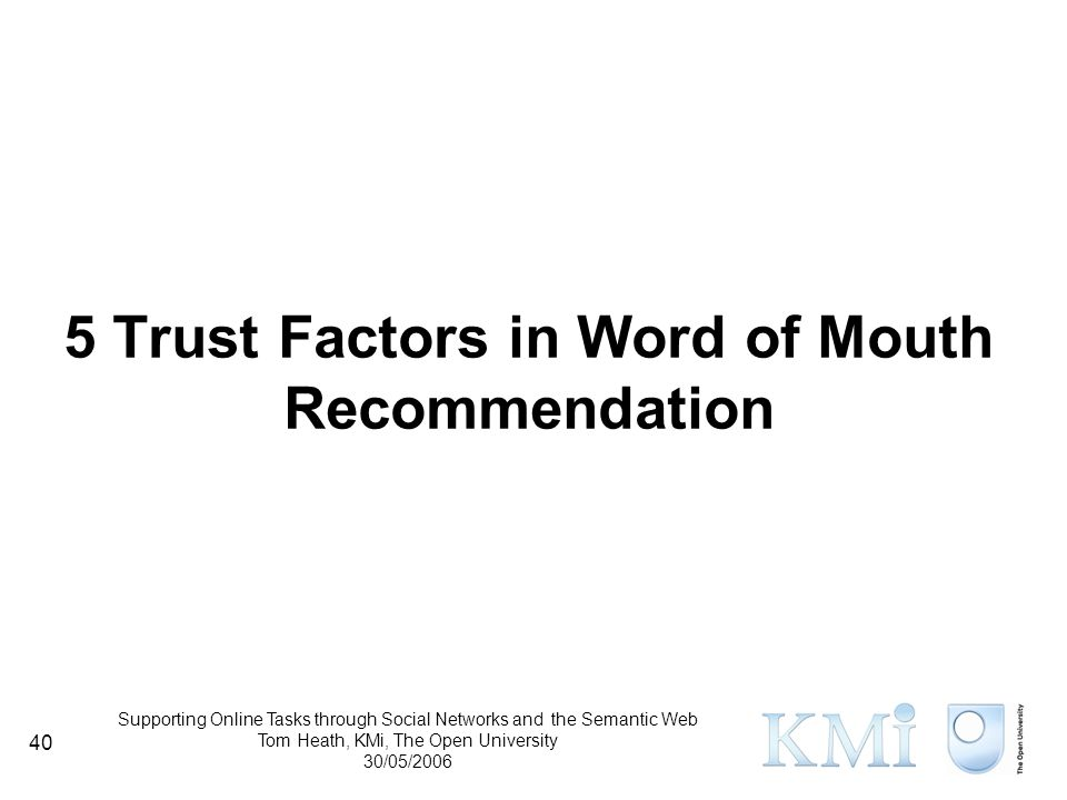 Supporting Online Tasks through Social Networks and the Semantic Web Tom Heath, KMi, The Open University 30/05/2006 40 5 Trust Factors in Word of Mouth Recommendation