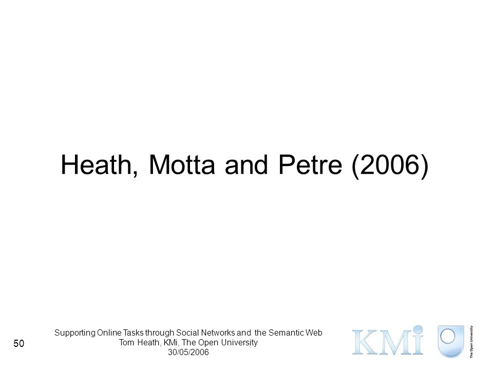 Supporting Online Tasks through Social Networks and the Semantic Web Tom Heath, KMi, The Open University 30/05/2006 50 Heath, Motta and Petre (2006)