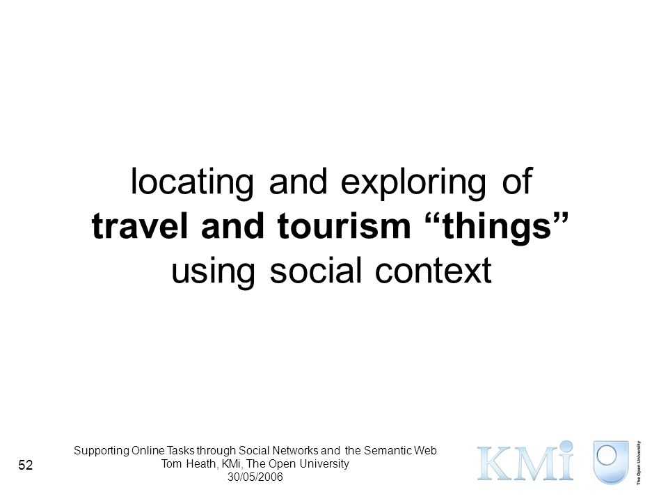 Supporting Online Tasks through Social Networks and the Semantic Web Tom Heath, KMi, The Open University 30/05/2006 52 locating and exploring of travel and tourism things using social context