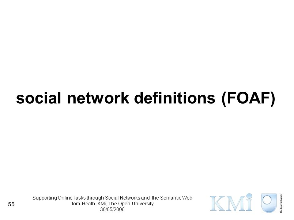 Supporting Online Tasks through Social Networks and the Semantic Web Tom Heath, KMi, The Open University 30/05/2006 55 social network definitions (FOAF)