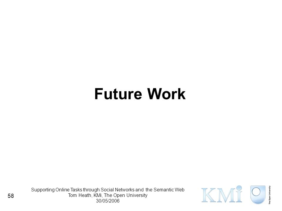 Supporting Online Tasks through Social Networks and the Semantic Web Tom Heath, KMi, The Open University 30/05/2006 58 Future Work