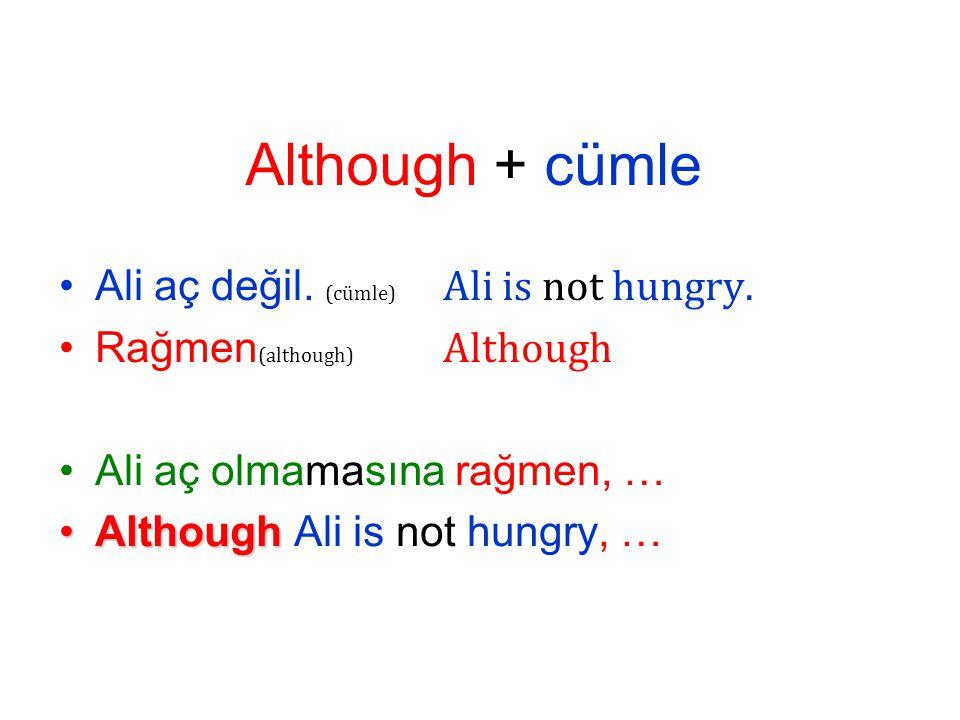 Ali aç değil. ( cümle) Ali is not hungry.