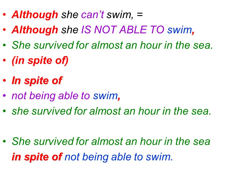 Although she can't swim, = Although she IS NOT ABLE TO swim, She survived for almost an hour in the sea.