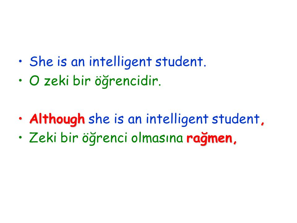 She is an intelligent student. O zeki bir öğrencidir.
