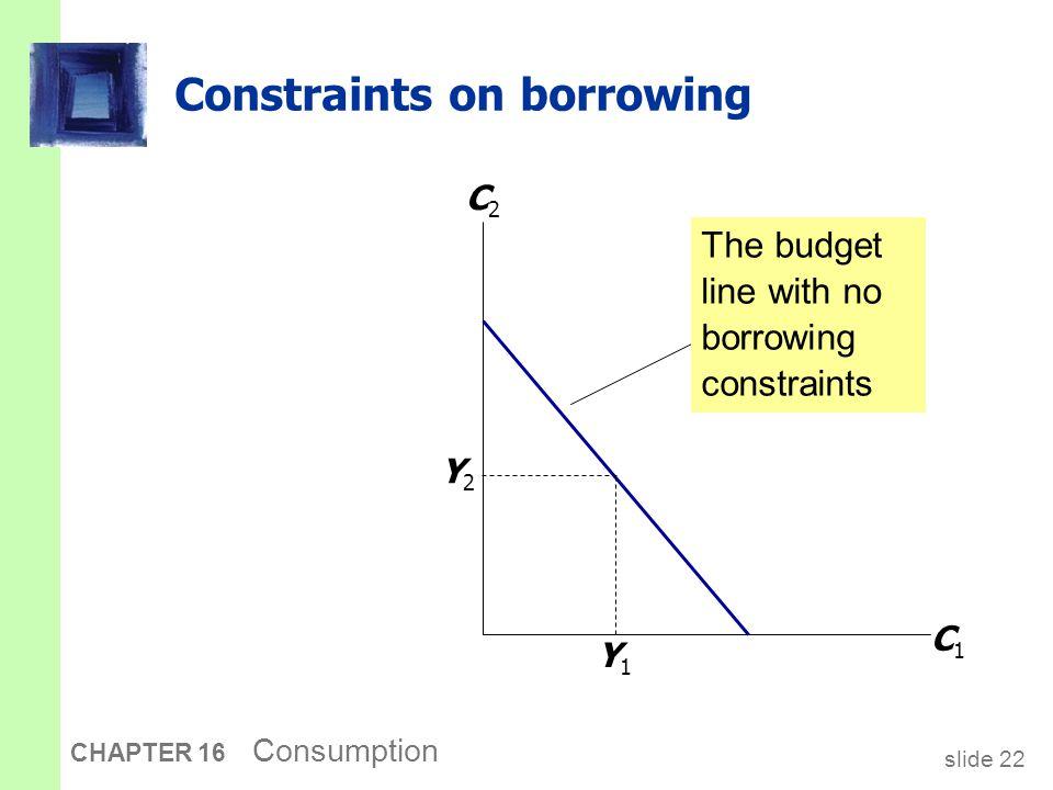 slide 22 CHAPTER 16 Consumption Constraints on borrowing The budget line with no borrowing constraints C1C1 C2C2 Y1Y1 Y2Y2