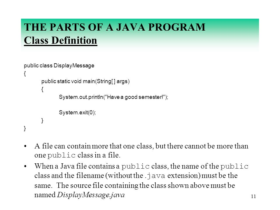 11 THE PARTS OF A JAVA PROGRAM Class Definition public class DisplayMessage { public static void main(String[ ] args) { System.out.println(