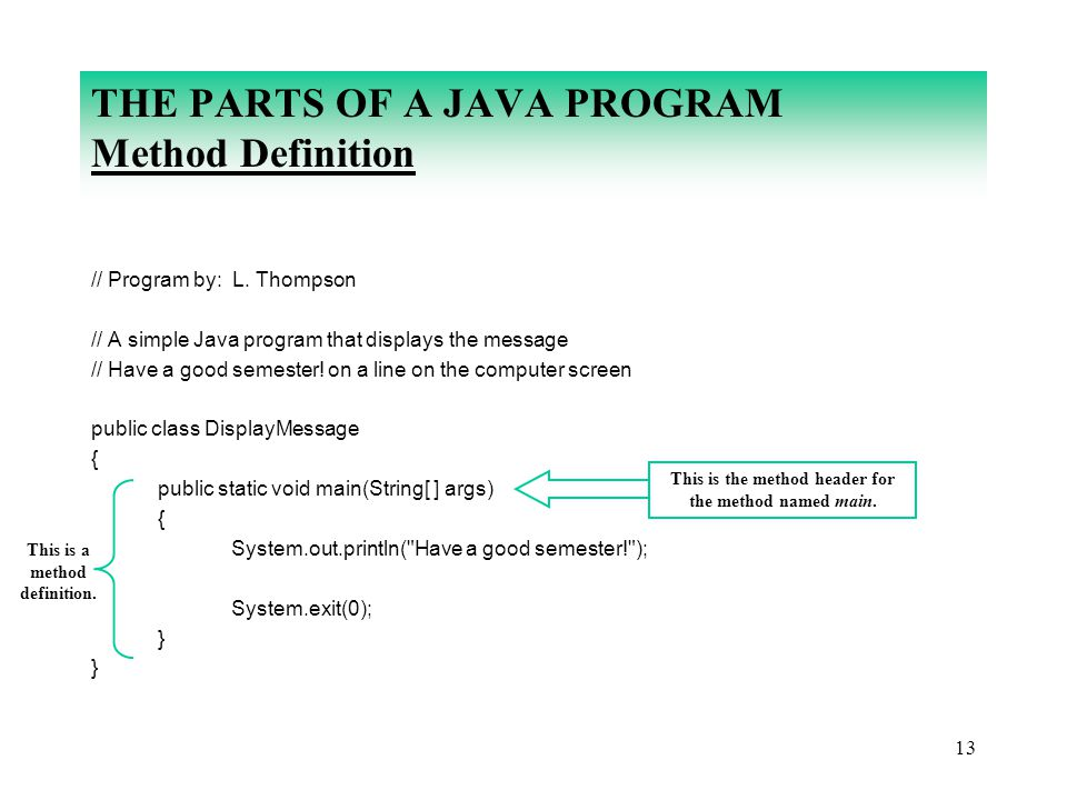 13 THE PARTS OF A JAVA PROGRAM Method Definition // Program by: L. Thompson // A simple Java program that displays the message // Have a good semester