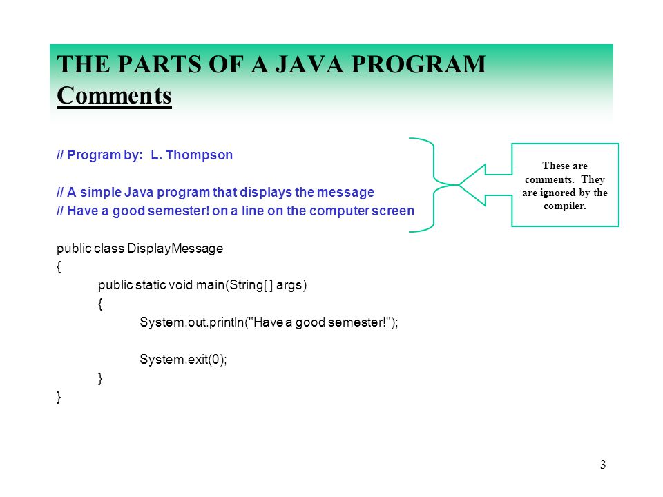 3 THE PARTS OF A JAVA PROGRAM Comments // Program by: L. Thompson // A simple Java program that displays the message // Have a good semester! on a lin