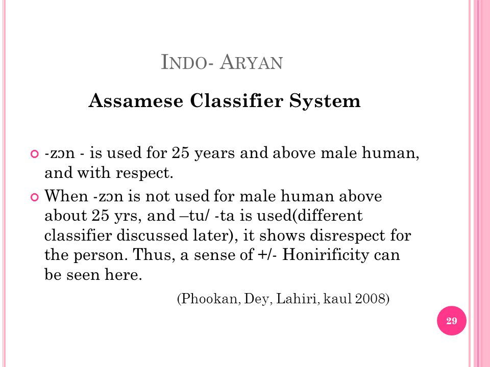 I NDO - A RYAN Assamese Classifier System -z ɔ n - is used for 25 years and above male human, and with respect.