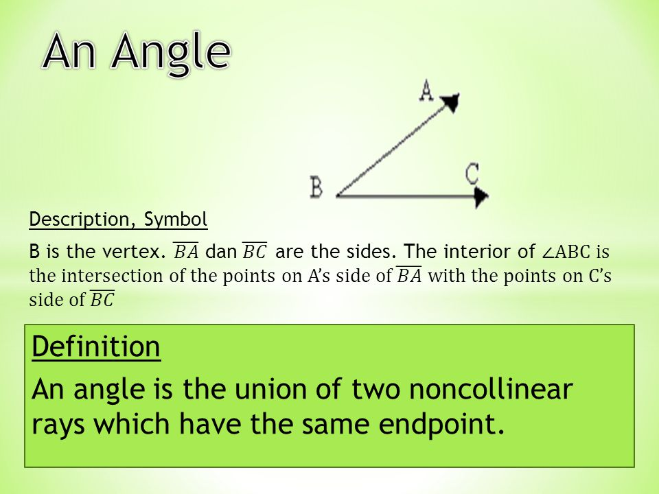 Definition An angle is the union of two noncollinear rays which have the same endpoint.