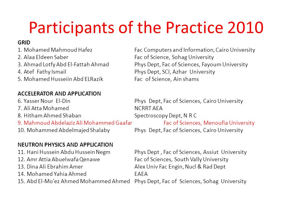 Participants of the Practice 2010 GRID 1. Mohamed Mahmoud Hafez Fac Computers and Information, Cairo University 2. Alaa Eldeen Saber Fac of Science, S