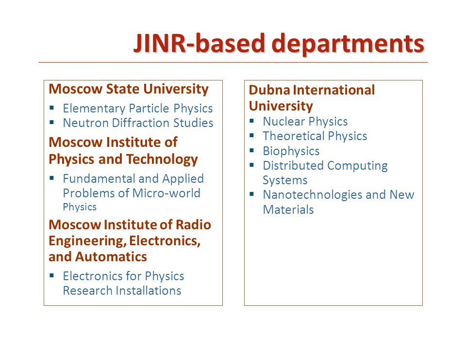 JINR-based departments Moscow State University  Elementary Particle Physics  Neutron Diffraction Studies Moscow Institute of Physics and Technology