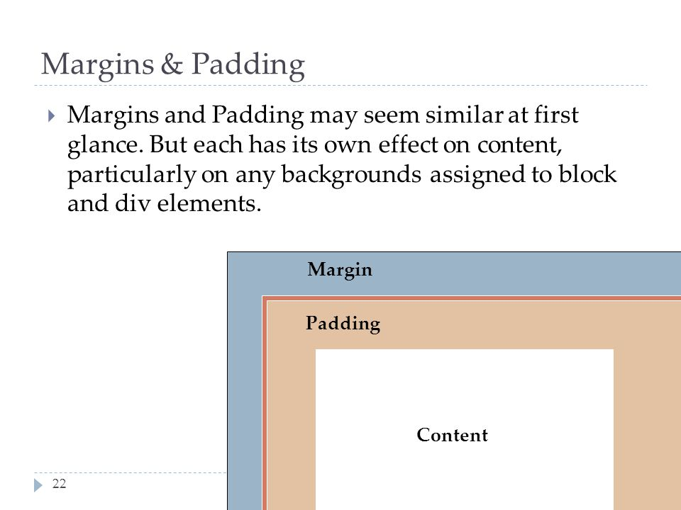 SM5312 week 9: CSS Layout22 Margins & Padding  Margins and Padding may seem similar at first glance. But each has its own effect on content, particul