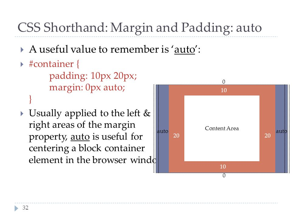 32 CSS Shorthand: Margin and Padding: auto  A useful value to remember is 'auto':  #container { padding: 10px 20px; margin: 0px auto; }  Usually ap