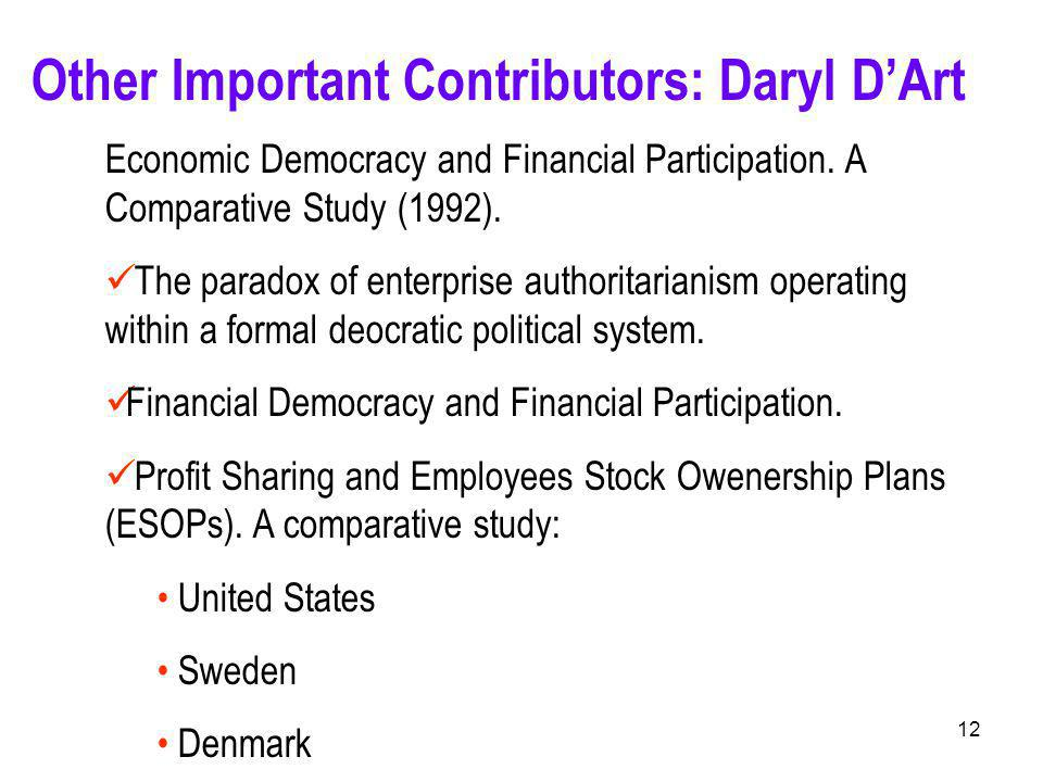 12 Other Important Contributors: Daryl D'Art Economic Democracy and Financial Participation.