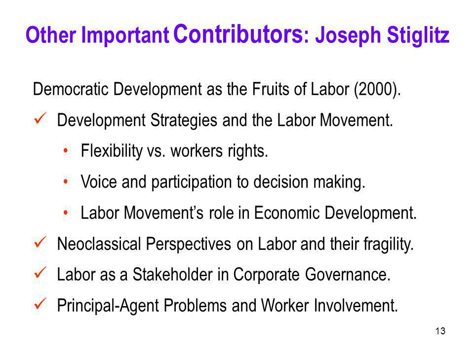 13 Democratic Development as the Fruits of Labor (2000).