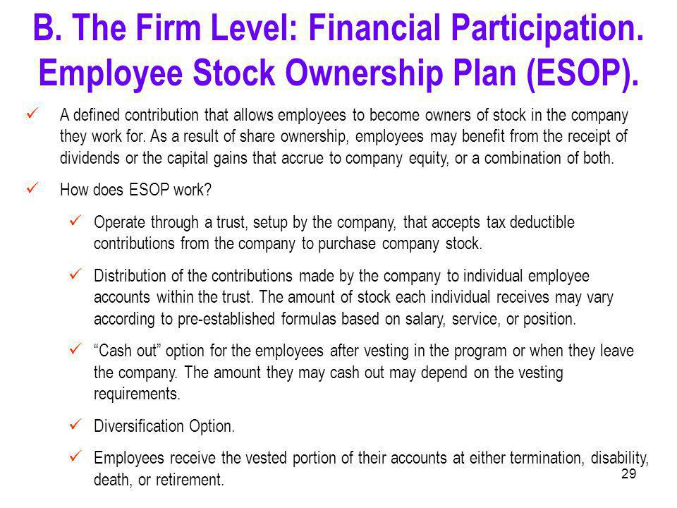 29 A defined contribution that allows employees to become owners of stock in the company they work for.