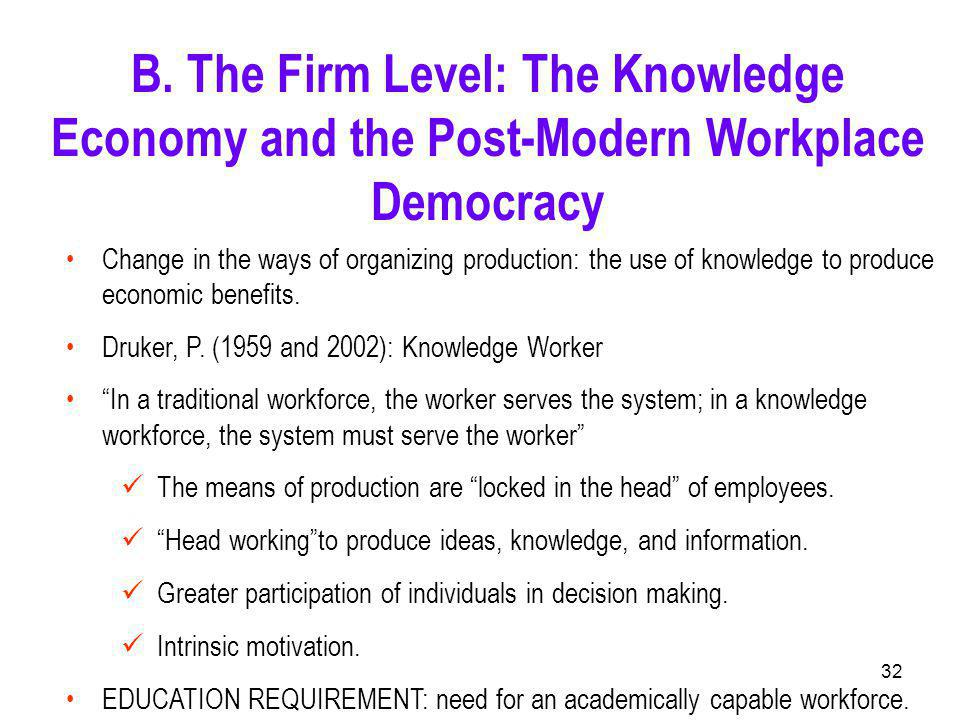 32 Change in the ways of organizing production: the use of knowledge to produce economic benefits.