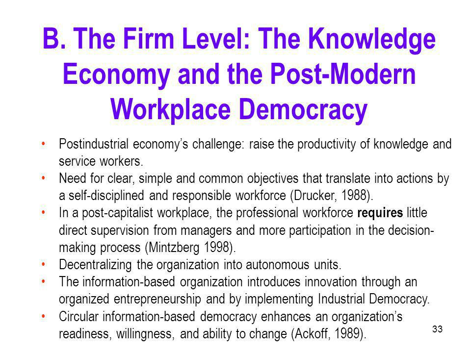 33 Postindustrial economy's challenge: raise the productivity of knowledge and service workers.