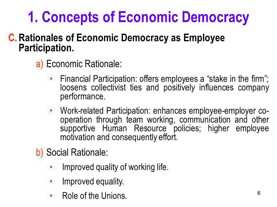 6 C.Rationales of Economic Democracy as Employee Participation.