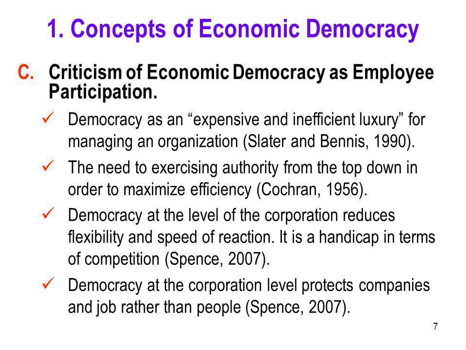 7 C. Criticism of Economic Democracy as Employee Participation.