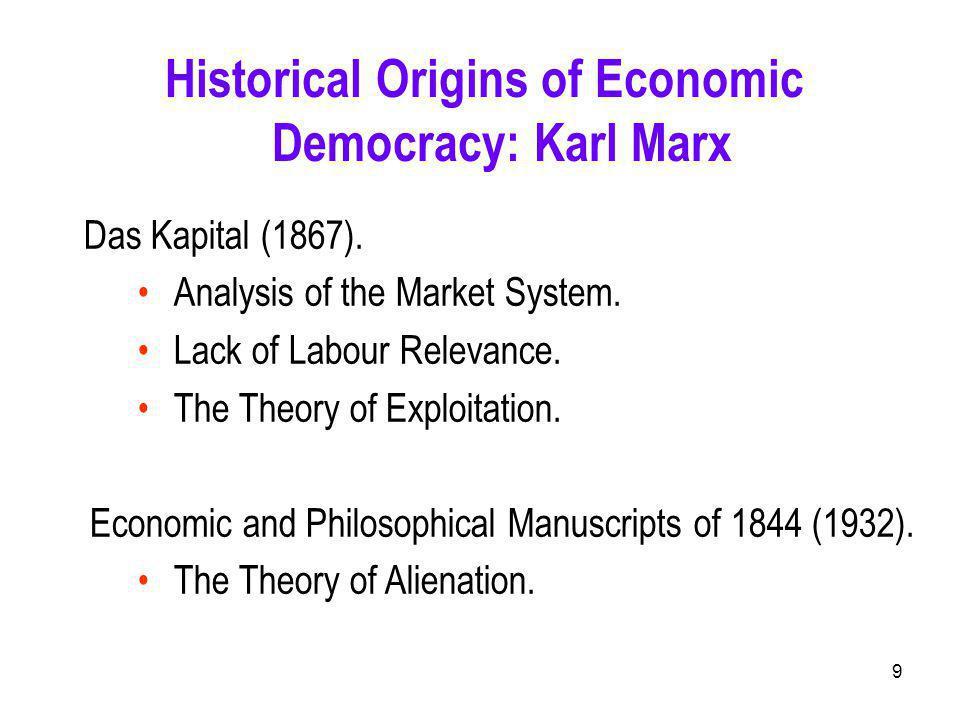 9 Historical Origins of Economic Democracy: Karl Marx Das Kapital (1867).