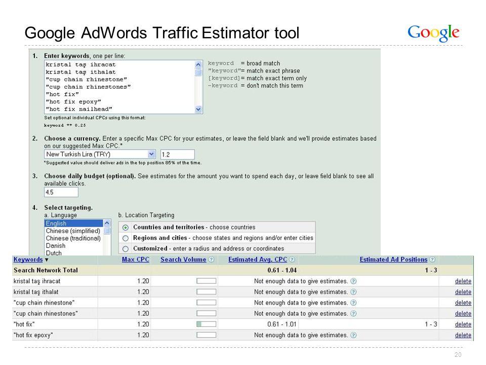 20 Google AdWords Traffic Estimator tool