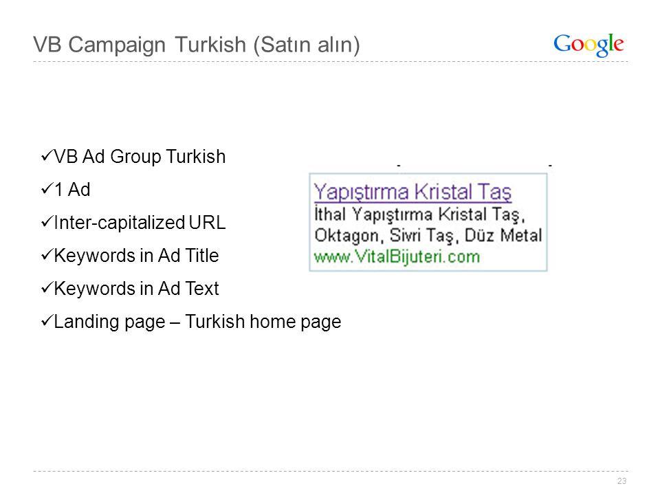 23 VB Campaign Turkish (Satın alın) VB Ad Group Turkish 1 Ad Inter-capitalized URL Keywords in Ad Title Keywords in Ad Text Landing page – Turkish hom