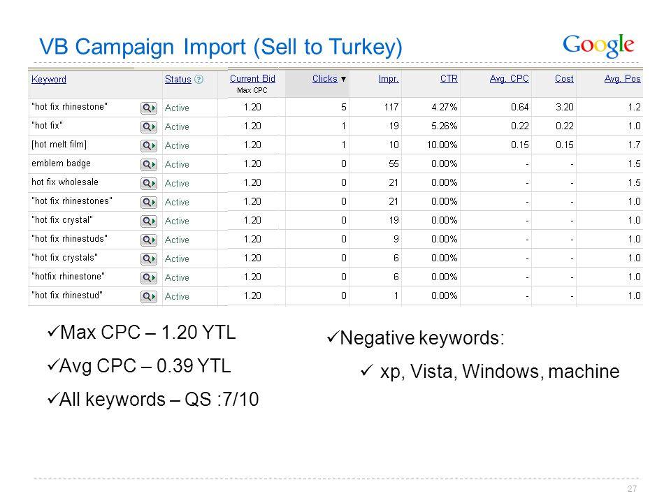 27 Max CPC – 1.20 YTL Avg CPC – 0.39 YTL All keywords – QS :7/10 VB Campaign Import (Sell to Turkey) Negative keywords: xp, Vista, Windows, machine