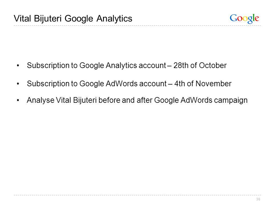 38 Vital Bijuteri Google Analytics Subscription to Google Analytics account – 28th of October Subscription to Google AdWords account – 4th of November Analyse Vital Bijuteri before and after Google AdWords campaign