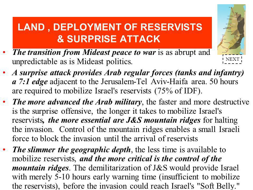 LAND, DEPLOYMENT OF RESERVISTS & SURPRISE ATTACK Judea & Samaria (J&S) mountain ridges - 3,000ft above the Jordan Valley and 2,000ft above the 8-15 mile coastal plain - constitute the Golan Heights of Jerusalem, Tel Aviv and Israel's coastal plain.